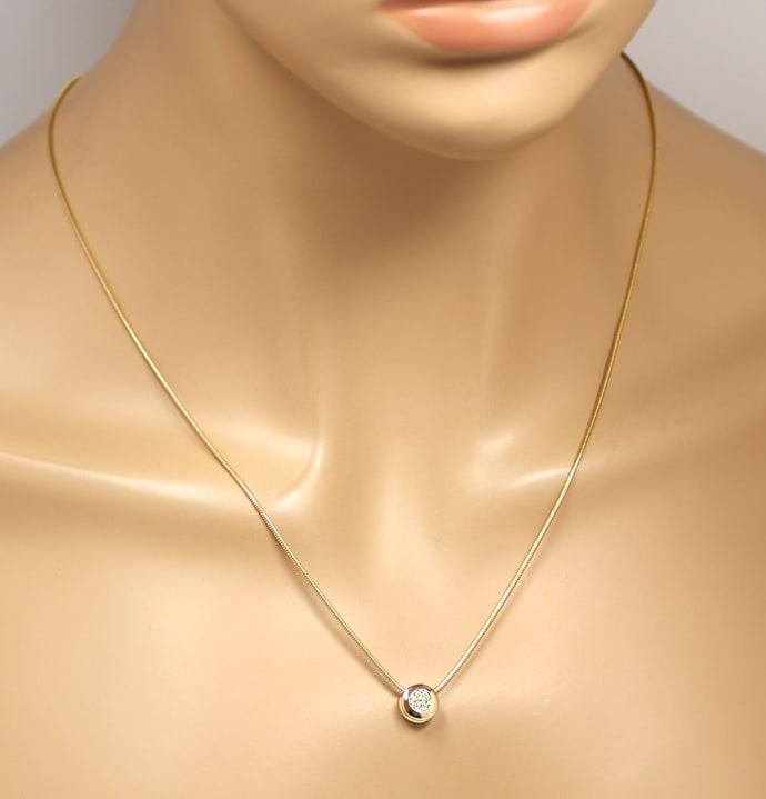 Foto 5, Diamantkollier Kette mit Brillantgleiter 0,50ct IGI 18K, Q0387
