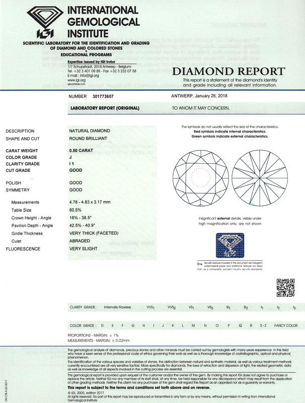 Foto 9, Diamantkollier Kette mit Brillantgleiter 0,50ct IGI 18K, Q0387