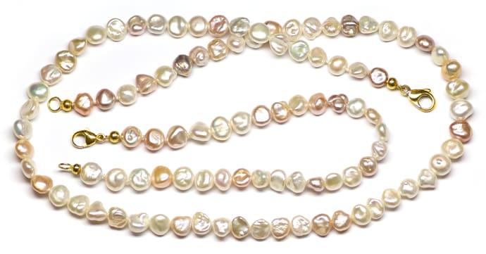 Foto 1, Kette und Armband aus Multicolor pastellfarbigen Perlen, Q0424