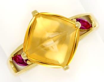 Foto 1, Designer Gold Ring mit 10ct Citrin und roten Turmalinen, Q0455