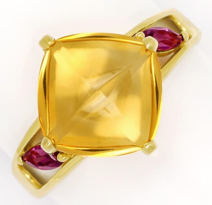 Foto 2, Designer Gold Ring mit 10ct Citrin und roten Turmalinen, Q0455