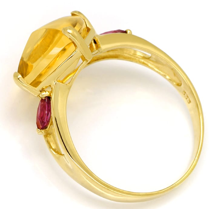 Foto 3, Designer Gold Ring mit 10ct Citrin und roten Turmalinen, Q0455