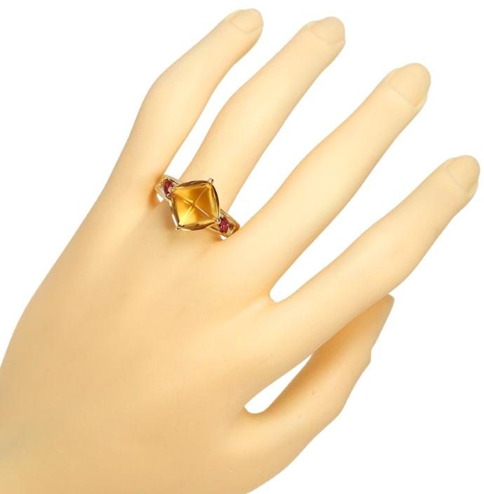 Foto 4, Designer Gold Ring mit 10ct Citrin und roten Turmalinen, Q0455