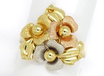 Foto 1, Gold Blütenring in sehr dekorativem dreifarbigen Design, Q0456