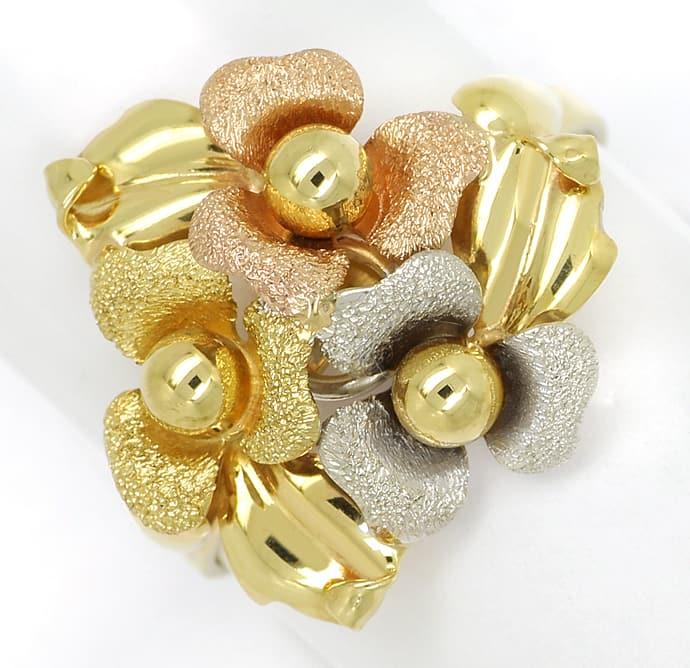 Foto 2, Gold Blütenring in sehr dekorativem dreifarbigen Design, Q0456