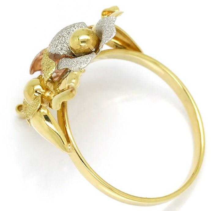 Foto 3, Gold Blütenring in sehr dekorativem dreifarbigen Design, Q0456