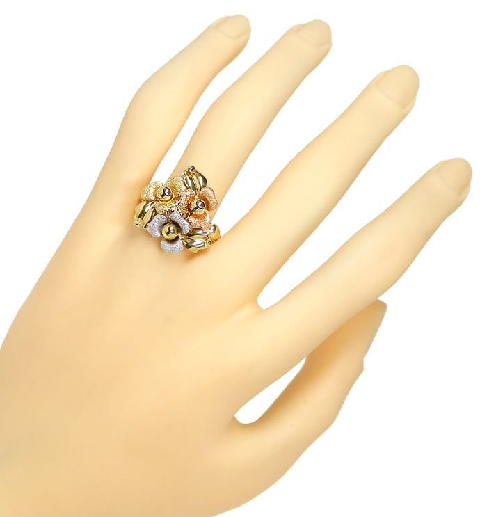 Foto 4, Gold Blütenring in sehr dekorativem dreifarbigen Design, Q0456