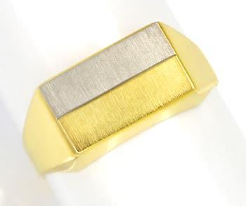 Foto 1, Siegelring mattierte zweifarbige Gravur Platte 14K Gold, Q0457