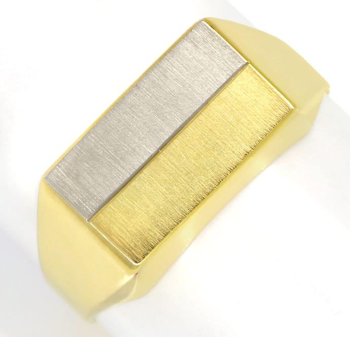 Foto 2, Siegelring mattierte zweifarbige Gravur Platte 14K Gold, Q0457