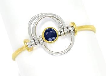 Foto 1, Saphir Ring mit beweglichen Teilen sehr zierlich in 14K, Q0458