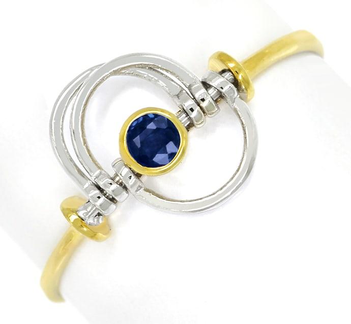 Foto 2, Saphir Ring mit beweglichen Teilen sehr zierlich in 14K, Q0458