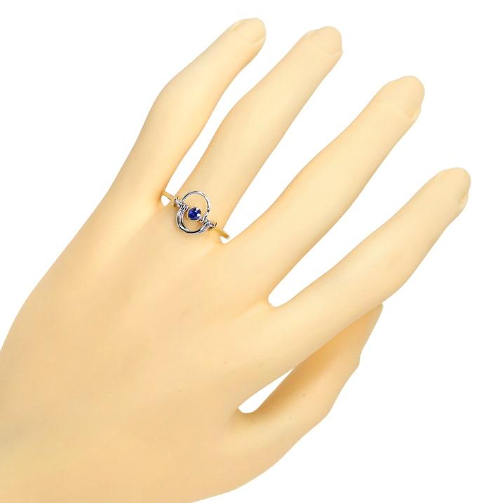Foto 4, Saphir Ring mit beweglichen Teilen sehr zierlich in 14K, Q0458