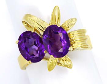 Foto 1, Ring mit 3ct Super Amethysten, Gold Blätter in Gelbgold, Q0460