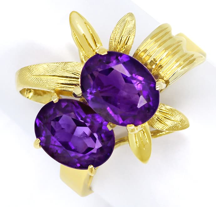 Foto 2, Ring mit 3ct Super Amethysten, Gold Blätter in Gelbgold, Q0460