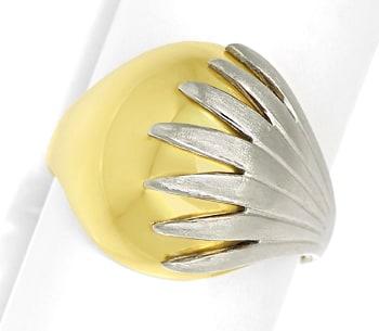 Foto 1, Design Bandring in Gelbgold Glanz und Weißgold Matt 14K, Q0464