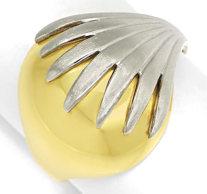 Foto 2, Design Bandring in Gelbgold Glanz und Weißgold Matt 14K, Q0464
