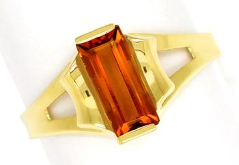 Foto 1, Gelbgoldring mit Spitzen Madeira Citrin Baguette in 14K, Q0465