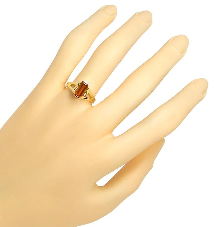 Foto 4, Gelbgoldring mit Spitzen Madeira Citrin Baguette in 14K, Q0465