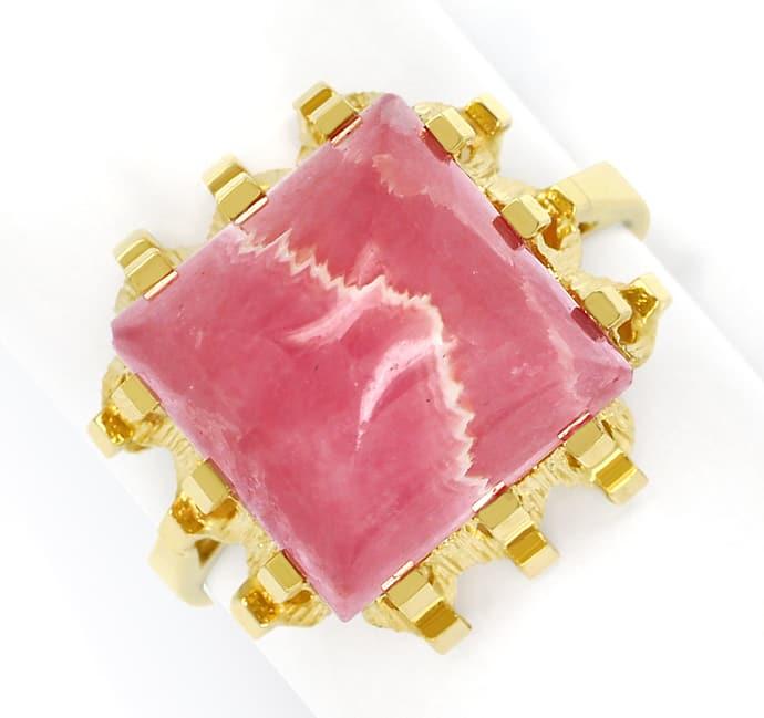 Foto 2, Damenring Rhodochrosit quadratischer Cabochon, Gelbgold, Q0467