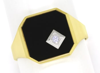 Foto 1, Herrenring mit Onyxplatte und River Diamant in 14K Gold, Q0469