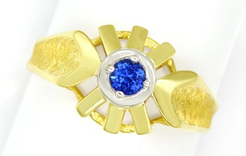 Foto 1, Blauer Spitzen Saphir in Designer Ring 14K Bicolor Gold, Q0470