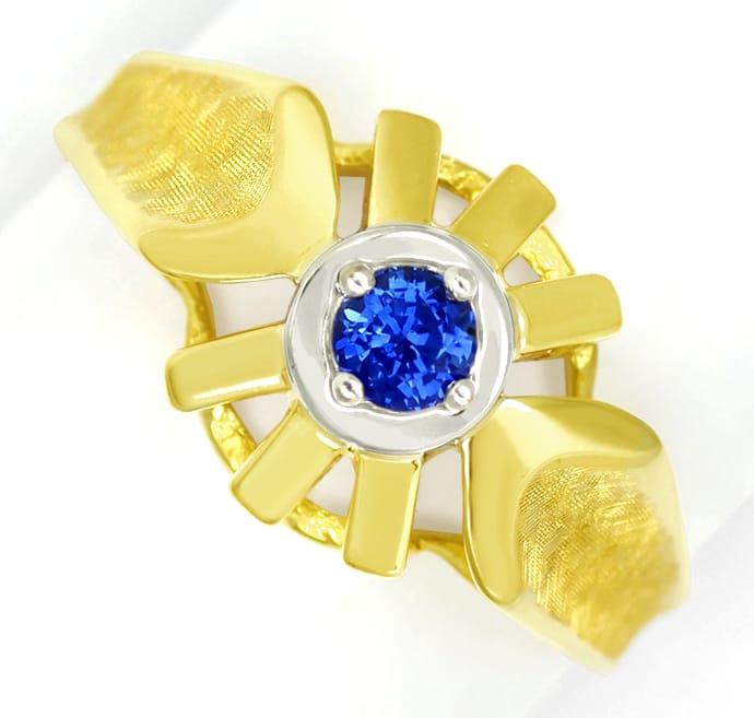 Foto 2, Blauer Spitzen Saphir in Designer Ring 14K Bicolor Gold, Q0470
