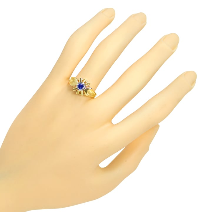 Foto 4, Blauer Spitzen Saphir in Designer Ring 14K Bicolor Gold, Q0470