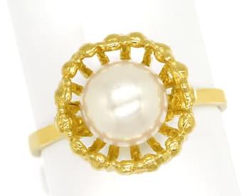 Foto 1, Akoyazuchtperle in fantastischem Designer Ring 14K Gold, Q0471