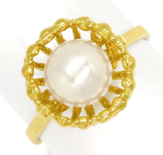 Foto 2, Akoyazuchtperle in fantastischem Designer Ring 14K Gold, Q0471