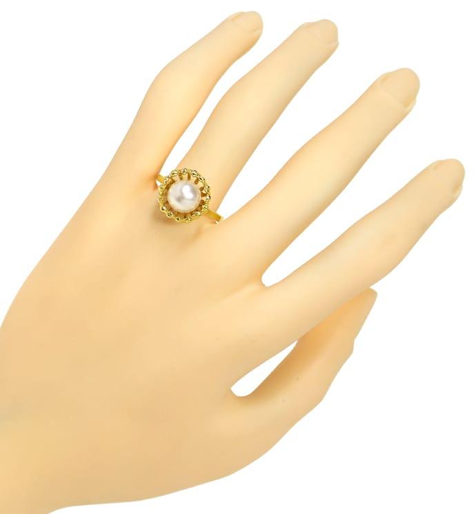 Foto 4, Akoyazuchtperle in fantastischem Designer Ring 14K Gold, Q0471