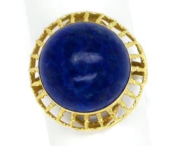 Foto 1, Ring 15ct riesiger Lapislazuli Cabochon in 14K Gelbgold, Q0473