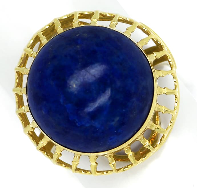 Foto 2, Ring 15ct riesiger Lapislazuli Cabochon in 14K Gelbgold, Q0473