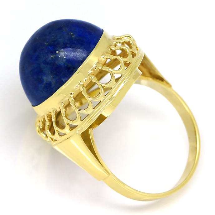 Foto 3, Ring 15ct riesiger Lapislazuli Cabochon in 14K Gelbgold, Q0473