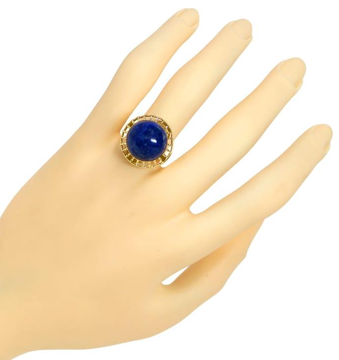 Foto 4, Ring 15ct riesiger Lapislazuli Cabochon in 14K Gelbgold, Q0473