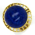 Ring 15ct riesiger Lapislazuli Cabochon in 14K Gelbgold