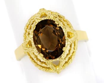 Foto 1, Rauchquarz 2,2ct in 14K Gelbgold Ring mit Borken Muster, Q0476
