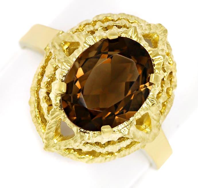 Foto 2, Rauchquarz 2,2ct in 14K Gelbgold Ring mit Borken Muster, Q0476