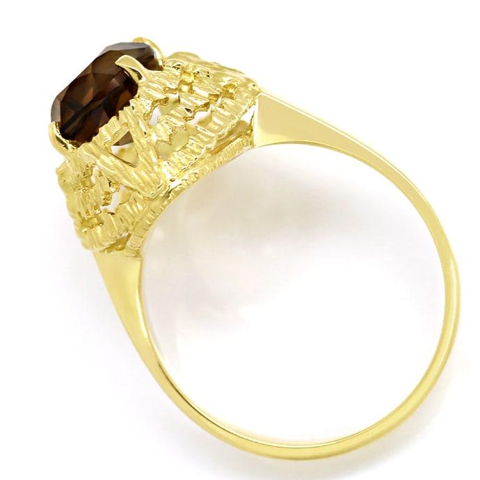 Foto 3, Rauchquarz 2,2ct in 14K Gelbgold Ring mit Borken Muster, Q0476
