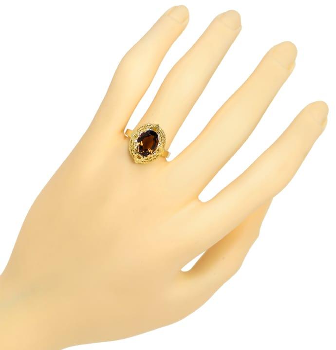 Foto 4, Rauchquarz 2,2ct in 14K Gelbgold Ring mit Borken Muster, Q0476