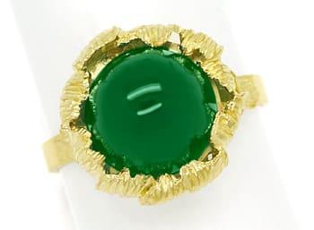 Foto 1, Edelsteinring mit grünem Achat Cabochon in 14K Gelbgold, Q0478