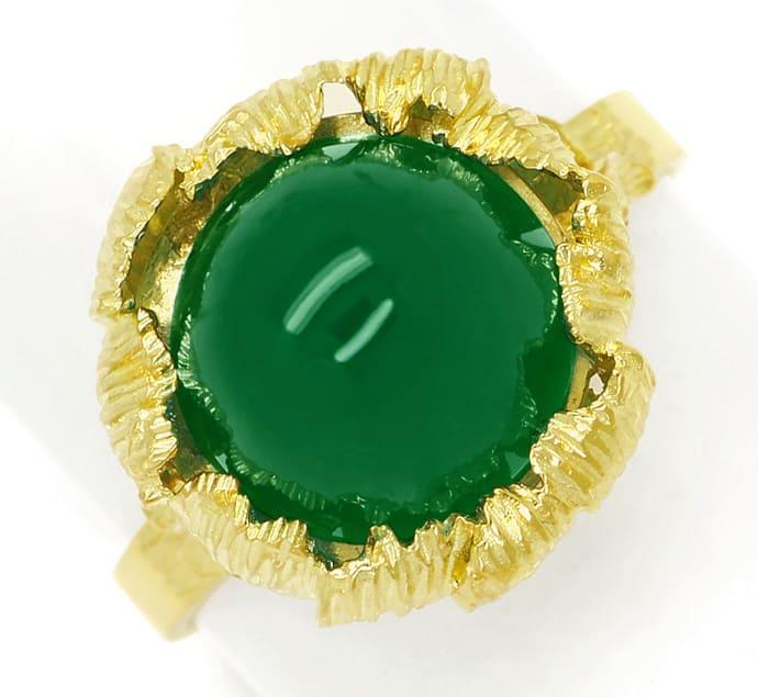 Foto 2, Edelsteinring mit grünem Achat Cabochon in 14K Gelbgold, Q0478
