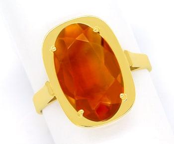 Foto 1, Madeira Citrin oval 3,4ct in Damenring aus 14K Gelbgold, Q0479