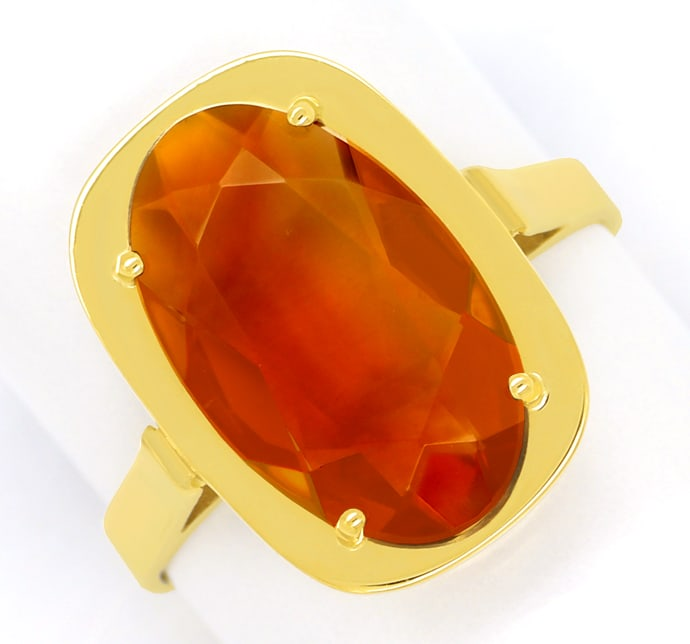 Foto 2, Madeira Citrin oval 3,4ct in Damenring aus 14K Gelbgold, Q0479