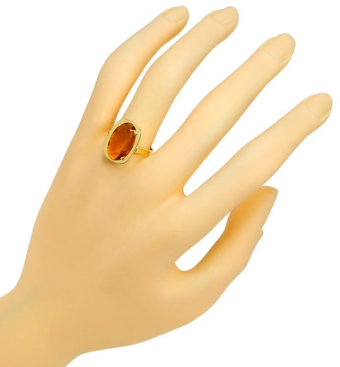 Foto 4, Madeira Citrin oval 3,4ct in Damenring aus 14K Gelbgold, Q0479