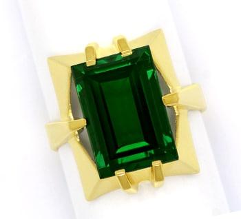 Foto 1, Gelbgold Ring toller grüner Spinell im Baguette Schliff, Q0480