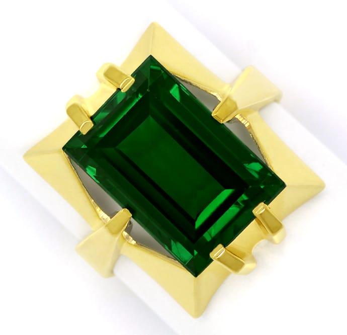 Foto 2, Gelbgold Ring toller grüner Spinell im Baguette Schliff, Q0480