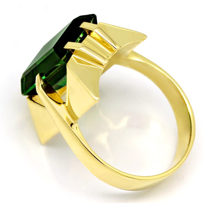 Foto 3, Gelbgold Ring toller grüner Spinell im Baguette Schliff, Q0480