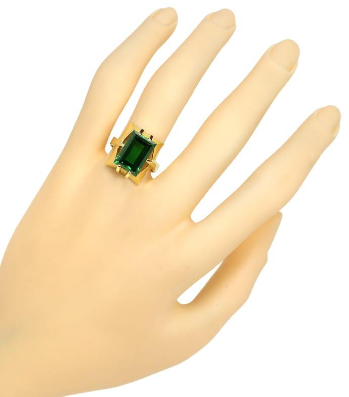 Foto 4, Gelbgold Ring toller grüner Spinell im Baguette Schliff, Q0480