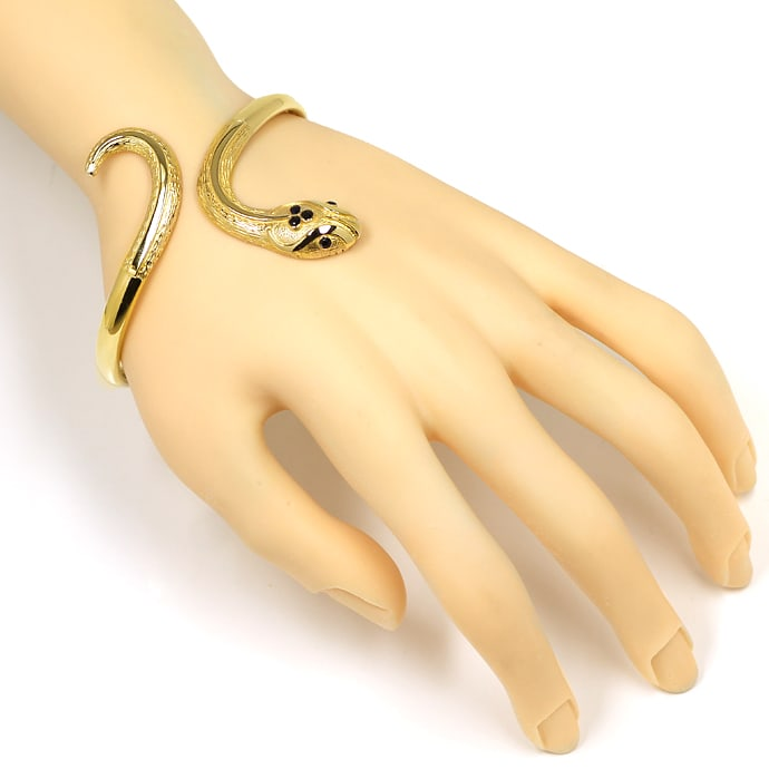 Foto 5, Armreif als flexible Schlange mit Saphiren und Gravuren, Q0492
