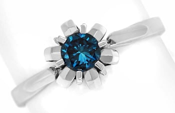 Foto 1 - Diamantring mit 0,32ct Fancy Intense Vivid Blue Solitär, Q0530